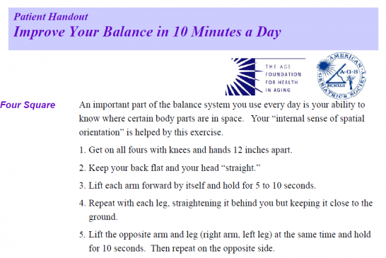 Improve your balance in 10 mins a day leaflet for older people (English)