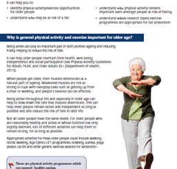 Guidance for exercise in older people at risk of falls (Wales)