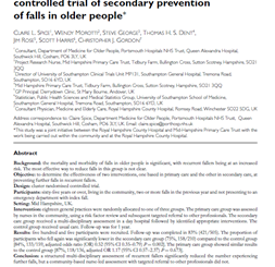 The Winchester falls project: a randomised controlled trial of secondary prevention of falls in older people