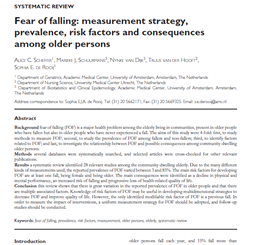 Fear of falling: measurement strategy, prevalence, risk factors and consequences among older persons