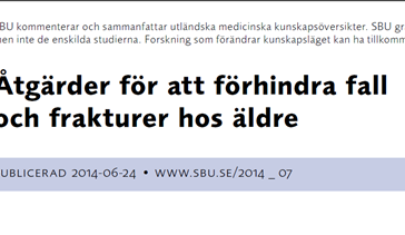 Interventions for preventing falls in home-dwelling older people (Swedish document)