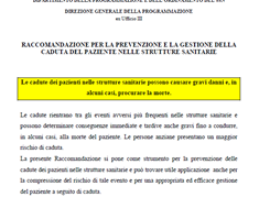 Recommendation for prevention and management of falls in older patients in health care settings (Italian)