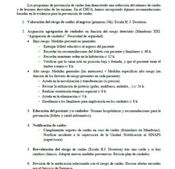 Resumen: Recomendaciones para la prevención de caídas en pacientes hospitalizados (Complejo Hospitalario Universitario de Albacete, Spanish)
