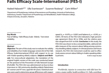 Cross-Cultural Adaptation, Validity and Reliability of the Arabic Version of the Falls Efficacy Scale-International (FES-I) (English)